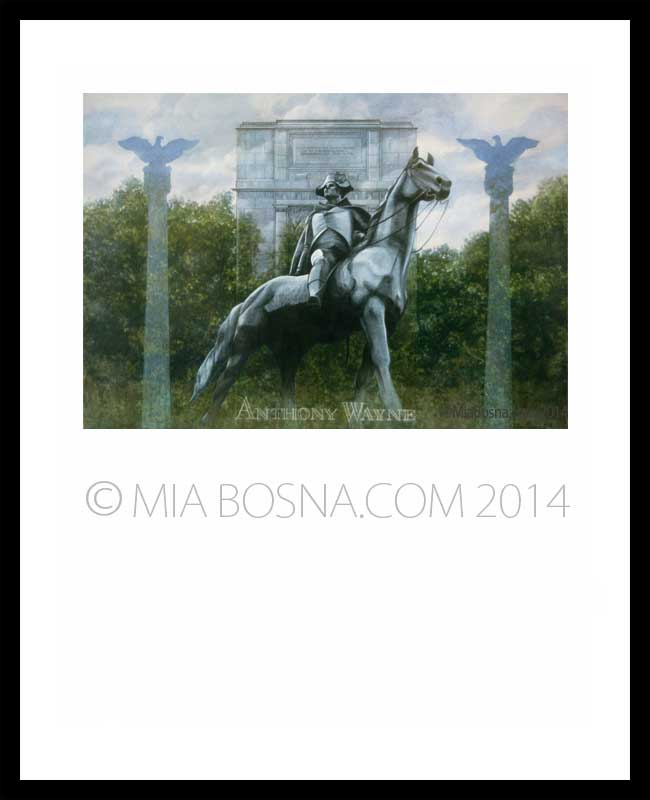 watercolor of Anthony Wayne sculpture in Valley Forge Park