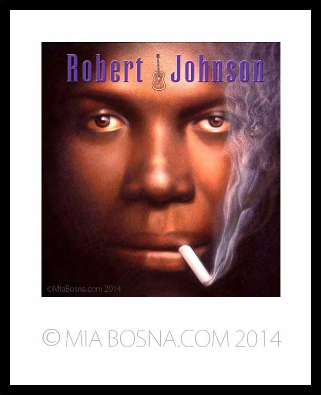 Painting of Robert Johnson by Mia Bosna