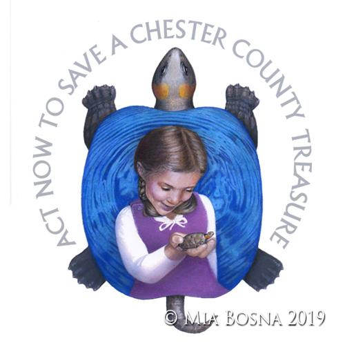 Bog Turtle and young girl logo by Mia Bosna