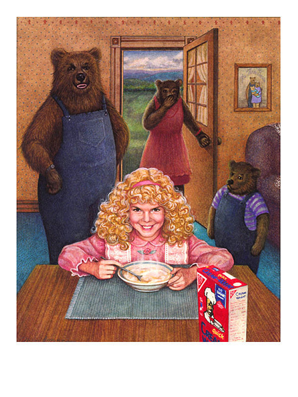 Goldilocks eating Creme of wheat with three bears