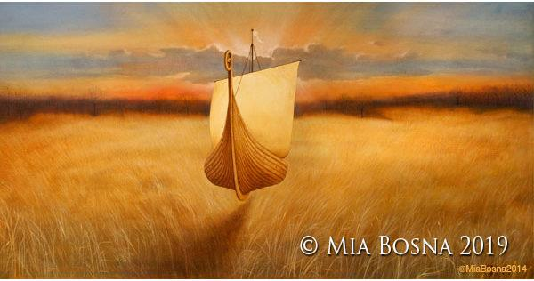 Floating Viking Boat by Mia Bosna