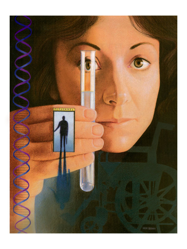 woman and test tube analyzing DNA