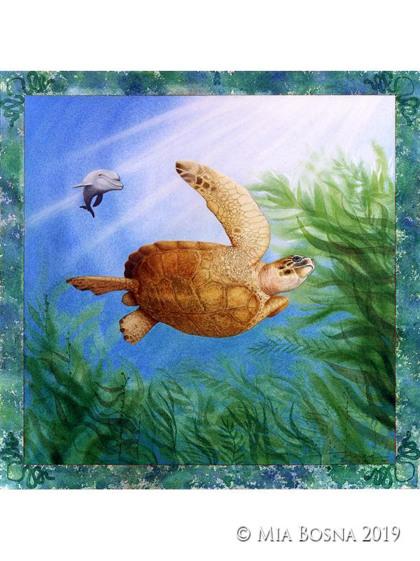 Sea turtle and dolphin©MiaBosna-all rights reserved